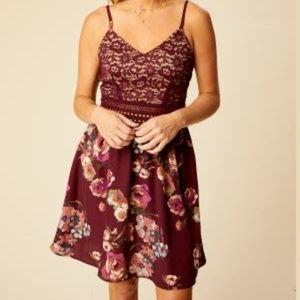 Altar'd State Burgundy Floral Lace A-Line Dress M